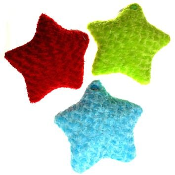 "Red Green Blue Star Pillow 13"" Multi Color LED Light Up Flash Plush Throw Lot 3"