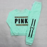 New 2016 Pullover Tracksuit Women Letter Pink Print Sportwear Suit Hoodies Sweatshirt +Pants Costume 2 Piece Set Grey Tracksuit