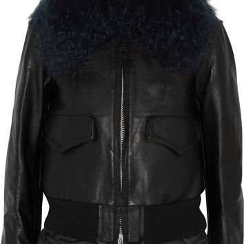 Sacai - Luck shearling-trimmed leather biker jacket