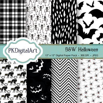 """Black-White Halloween Digital Paper - """"BW Halloween""""  patterns backgrounds, projects, design, scrapbooking"""