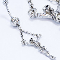 Gem skeleton Skull Dangle Belly button Ring Silver piercing Accessary 316L medical stainless steel Hypoallergenic navel ring nail