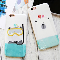 "Funny Cartoon Diving Animal Case For iphone 6 6S Plus Phone Case 4.7/5.5"" Cute White Polar Bear Hippo Horse Back Cover IMD Coque"