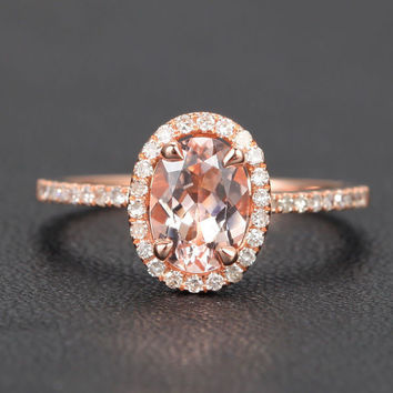 Oval Morganite Engagement Ring Pave Diamond Wedding 14K Rose Gold 6x8mm CLAW PRONGS