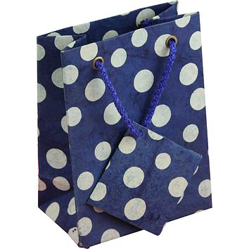 Handcrafted Recycled Paper Polka Dot Gift Bags w/ Gift Tag Set of 6 Blue White