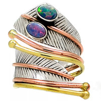 Australian Fire Opal Double Adjustable Sterling Silver Wrap Ring