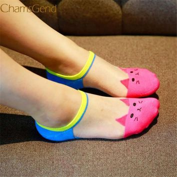 Chamsgend Sock Newly Design Women Girls Cute Cat Face Printed Invisible Low Cut Ankle Socks 160726 Drop Shipping