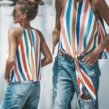 New Colorful Striped Patchwork Print O-Neck Bow Blouse Summer Sleeveless Top Women Elegant CasualShirts