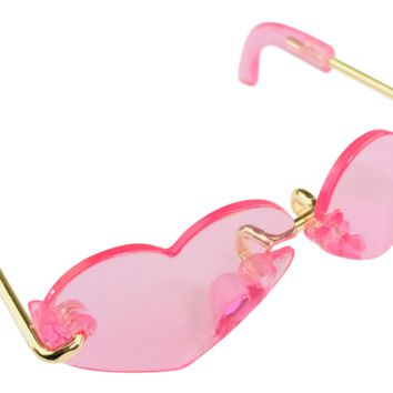 ANGELA Doll SUNGLASSES HEART SHAPED neon pink