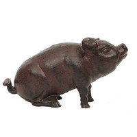 "Casual Country 8-3/4""L x 5""H Cast Iron Pig Home Decor"