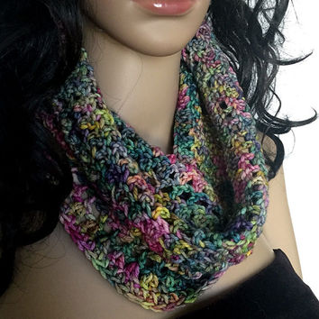 Outlander Scottish Garden Cowl Claire Scarf - Multicolored Diana Gabaldon Crocheted Neckwarmer