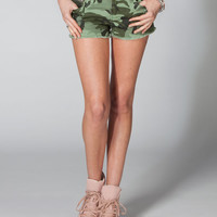 Ymi Camo Womend Cutoff Denim Shorts Olive Combo  In Sizes