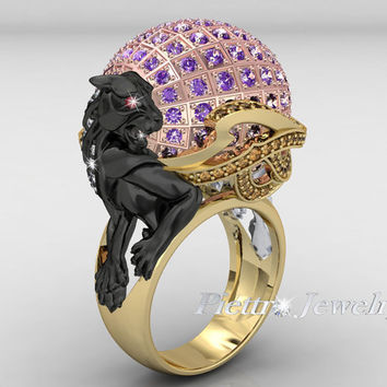 Fashion Unique Crafts Diamond Panther Ring  2D Design 18 Renders  Image  For Catalog or  Online WebStore- RPJD