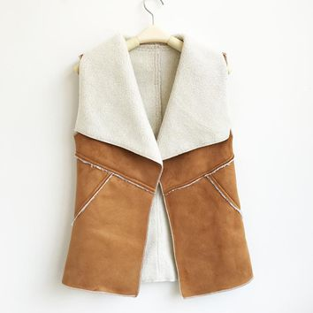 Suede Turn-down Collar Vest
