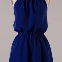 Royal Blue Halter Dress with Lace Detail