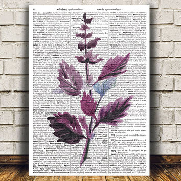 Basil decor Kitchen print Herb poster Watercolor print RTA1489