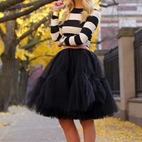 Happy Tiers Layer Black Tulle Chiffon Elastic Waist Pleated Circle A Line Flare Midi Skirt