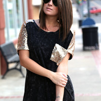 Acid Wash Sequin Top BLACK