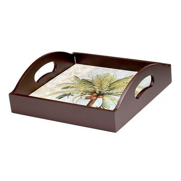 Certified International Key West 4-Tile Square Wood Tray with Handles
