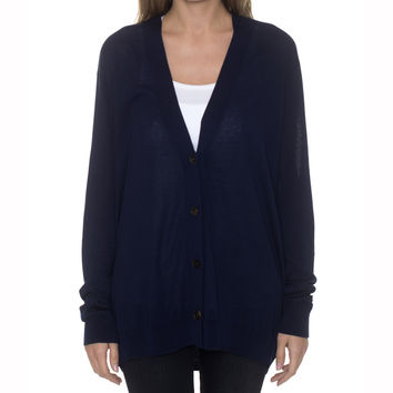 Acne Studios Marva Fluid Navy Oversized Cardigan Sweater