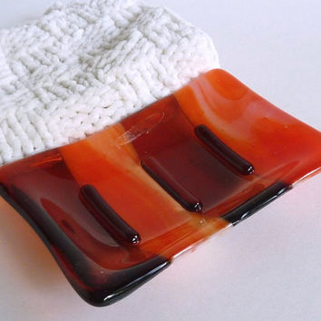 Fused Glass Soap Dish in Coral and Streaky Orange