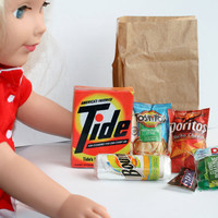 American Girl Size Food, Miniature Groceries, Doll Size Food. 6 Items.