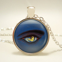 The Great Gatsby Eye with Nude Woman Vintage-Inspired Pendant Necklace - Detail from Original Book Jacket - Flapper Jewelry
