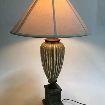 Green Ceramic Tall table Lamp with Shade
