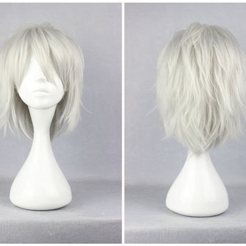 Dramatical Murder Dmmd Clear 35cm Short Silvery Gray Synthetic Cosplay Wig,Colorful Candy Colored synthetic Hair Extension Hair piece 1pcs WIG-271B