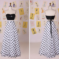 Unique Design Black and White Sequin Top Antinode Skirt Long Prom Dress/Sexy Two Piece Black and White Polka Dots Party Dresses DAF0039