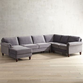 Alton Zinc 4-Piece Left-Arm Chaise Sectional