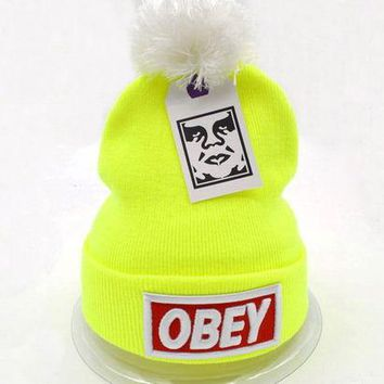 DCCKUH3 Obey Women Men Embroidery Beanies Knit Wool Hat Cap