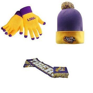 Licensed NCAA LSU Tigers Spirit Scarf Pom Beanie Hat And Glove Solid Knit 3 Pack 04304 KO_19_1