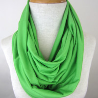 Green Infinity Scarf - Bright Green Scarf - Green Jersey Scarf