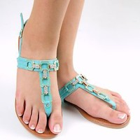 Women's Sandals Rhinestone TStrap Flat Sandal Shoe Slingback Teal Black or White