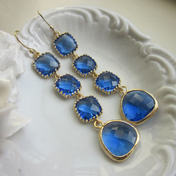 Cobalt Earrings Blue Gold Plated Earrings 4 tier - Bridesmaid Earrings - Wedding Jewelry - Bridal Earrings - Valentines Day Gift