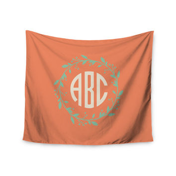 "Kess Original ""Classic Orange Wreath Monogram"" Green Illustration Wall Tapestry"
