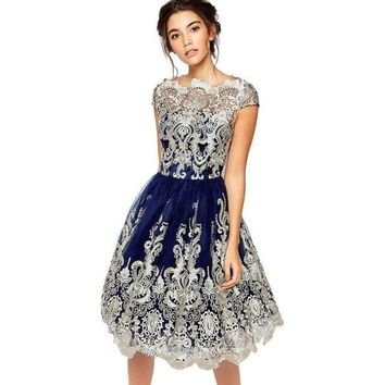 Paisley Embroidered Satin Dress - Blue