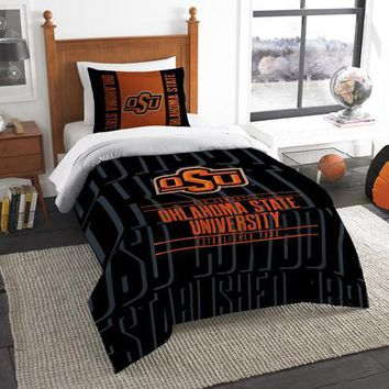 Oklahoma State Cowboys NCAA Bedding Modern Take Twin Printed Comforter & 1 Sham Set