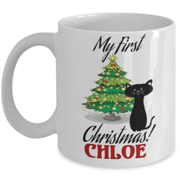 *Attention Cat Moms* Turn your Mugs into a piece of Purrrfect Cat Mom Art! First Christmas Personalized X-Mas Kitty Mug Gift For Cat Lovers