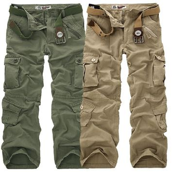 2017 New Men's Cotton Loose Man Camouflage Tactical Military Fatigues Cargo Pants Men Military Trousers Large Size Plus Size 40