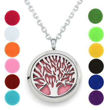 Tree of Life Essential Oil Diffuser Necklace - Aromatherapy Jewelry - Hypoallergenic 316L Stainless Steel, 21'' Chain with 8 Assorted Pads