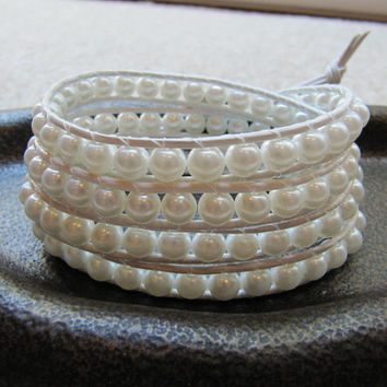 Swarovski White Pearl Bead Leather Wrap Bracelet with White Leather