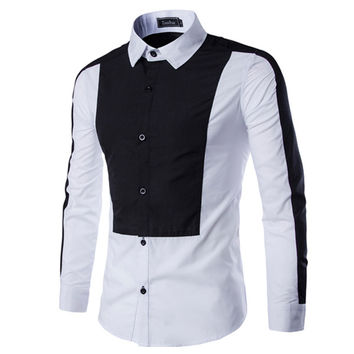 Two Toned Color Design Men's Dress Shirt