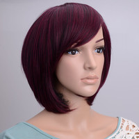 Burgundy Dark Red Bob Style Wig With Bangs