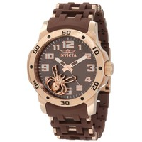 Invicta 10298 Men's Brown Dial Brown Rubber & Rose Gold Steel Bracelet Watch