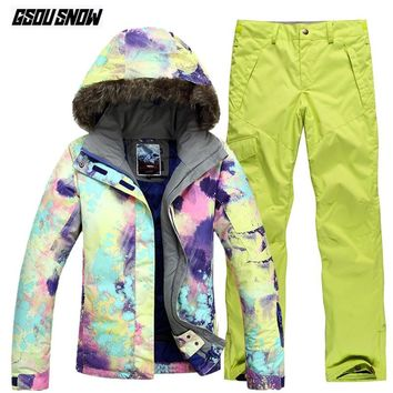 GSOU SNOW Brand Ski Suit Women Ski Jackets Pants Winter Mountain Skiing Suit Outdoor Waterproof Skiing Snowboarding Snow Clothes