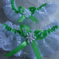 Lace garter, lime green lace/organza garter set, Bridal garter set