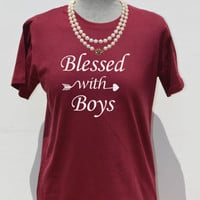Blessed with boys shirt for mom of boys t shirt, mom life is the best life, blessed mama shirt,son to mother thankful grateful blessed shirt
