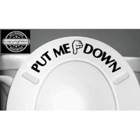PUT ME DOWN Decal Bathroom Toilet Seat Vinyl Sticker Sign Reminder for Him (free glowindark switchplate decal) stickerciti Brand
