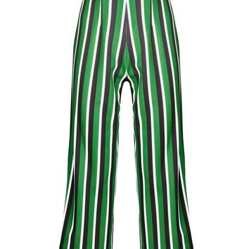 Green Stripe Cropped Wide Leg Trousers | New Look